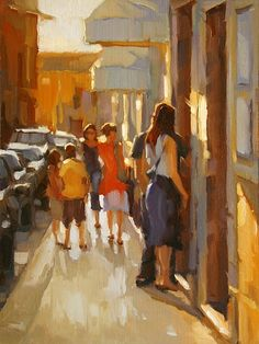 """Window Shopping  by Sarah Kidner  Oil16"""" x 12"""""""