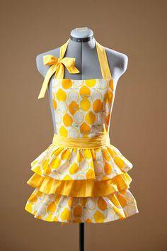handmade apron, ruffles, lemons
