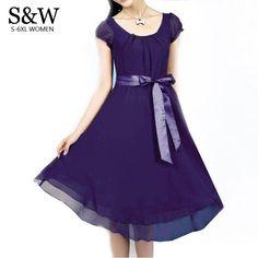 2016 Summer Women's Plus Size Chiffon Dress Elegant Thin Purple/black Dresses With Belt  L XXXL 4XL 5XL Big Size Party Dress-in Dresses from Women's Clothing & Accessories on Aliexpress.com | Alibaba Group