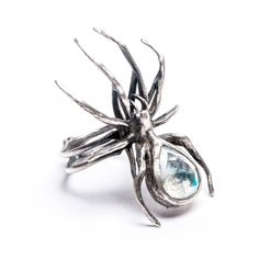 The Eternal Weaver: Moonstone Spider Ring – Blood Milk Jewels