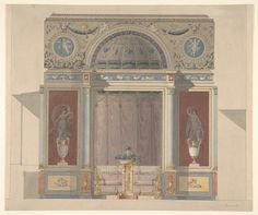 Anonymous, French, 19th century | Study for an Arched Alcove with a Canapé | The Metropolitan Museum of Art