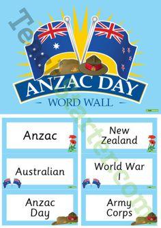 Anzac Day Word Wall Vocabulary