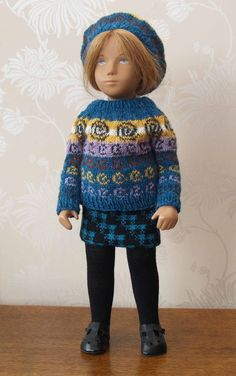 Sasha Dolls Clothes- Tweed Skirt, Celtic Spiral Fair Isle Sweater and Beret   | eBay