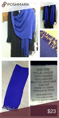 """Royal Blue Pashmina Scarf Beautiful blue. 28"""" x 70"""". Soft viscose, hand wash cold. Accessories Scarves & Wraps"""