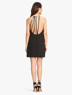 08a06b931ff1b Halston Crepe Mini Dress With Multi Chain Embellished Straps Halston  Heritage