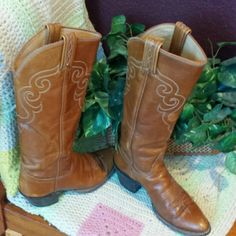 """Vintage black label Tony Lama cowgirl boots Gorgeous distressed vintage black label Tony Lama cowgirl boots.  Shank ends just below knee, 2"""" heel.  Minor scuffs on toe. Size 5 Tony Lama Shoes Heeled Boots"""
