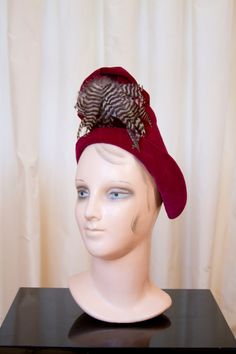 1940's Hat // New York Creation Cranberry Red Velveteen Turban Hat With Feathers