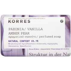 Korres Paeonia Vanilla Amber Pear Perfumed Soap 125ml ($7.79) ❤ liked on Polyvore featuring beauty products, bath & body products, body cleansers, fillers, beauty, soap, fillers - purple, makeup, blossom perfume and soap perfume