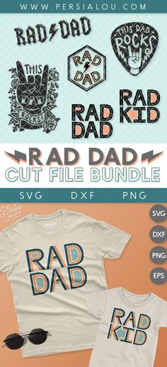 Is your dad a cool dad, not like a regular dad? Celebrate all the rockin' Rad Dads in your life with this bundle of modern Father's Day SVG cut file designs! These designs can be used with Silhouette, Cricut, and other similar machines and software. Handmade Father's Day Gifts, Dad Rocks, Kids Cuts, Cricut, Cute Cuts, The Design Files, Silhouette Cameo Projects, Dad Hats, Custom T