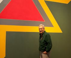 "Frank Stella in front of ""Chocorua IV,"" one of the Irregular Polygon series Frank Stella, Jeff Koons, Yayoi Kusama, Moma, Post Painterly Abstraction, Work In New York, Ludwig Mies Van Der Rohe, Portrait, Landscape Paintings"