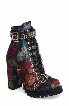 Jeffrey Campbell Jeffrey Campbell Lilith Block Heel Bootie (Women) available at Purple Ankle Boots, Floral Ankle Boots, Short Heel Boots, Velvet Ankle Boots, Studded Ankle Boots, Block Heel Ankle Boots, Ankle Booties, Bootie Heels, Calf Boots