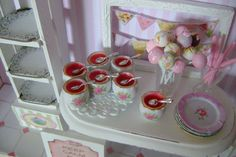 6 STRAWBERRY JELLY CUPS with Spoons - Dollhouse Miniature 1/12 th Scale. $25.00, via Etsy.