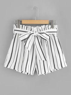 Self Tie Waist Frill Trim ShortsFor Women-romwe Shorts Outfits Women, Short Outfits, Trendy Outfits, Summer Fashion Outfits, Cute Summer Outfits, Cute Outfits, Summer Dresses, Teenage Girl Outfits, Outfits For Teens
