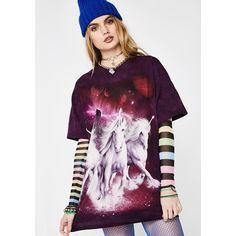 Purple Unicorn T Shirt ($25) ❤ liked on Polyvore featuring tops, t-shirts, unicorn t shirt, purple t shirt, purple graphic tees, tye dye t shirts and tie dye tee