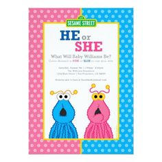 Sesame Street Birthday Yip-Yips Gender Reveal Card