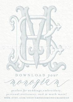 Digital Wedding Monogram BM MB Vintage Double -- Perfect for newlyweds, new homes, embroidery, engraving, personal stationery, small business branding, gifting, wedding stationery, and so much more!