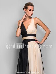 Corte en A Escote Hasta el Suelo Raso Espalda Abierta   Bloque de Color  Evento Formal Vestido con Fruncido por TS Couture® 36b4b2ce679