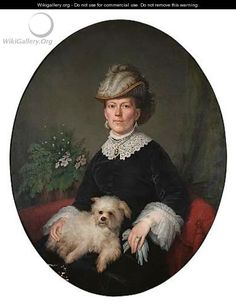 Portrait Of A Lady With Her Pet Dog by Continental School