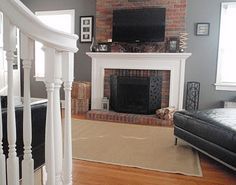 White fireplace on Brick mantel Fireplace Facade, White Fireplace, Diy Fireplace, Fireplaces, Diy Mantel, Mantel Ideas, Veranda Interiors, Chesterfield Style Sofa, House Blinds