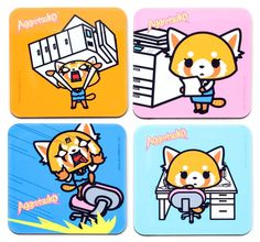 Aggretsuko's New Book & More Cute Picks - Super Cute Kawaii! Sanrio Characters, Manga Games, More Cute, Spirit Animal, Pixel Art, New Books, Coasters, Cartoons, Gifs
