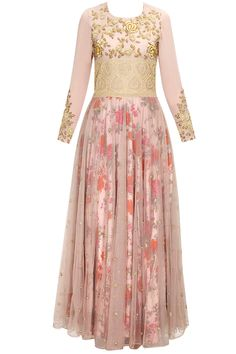 Powder pink rose jaal embroidered anarkali set with floral printed underlayer by Bhumika Sharma. Shop now: www.perniaspopups.... #anarkali #designer #bhumikasharma #elegant #clothing #shopnow #perniaspopupshop #happyshopping