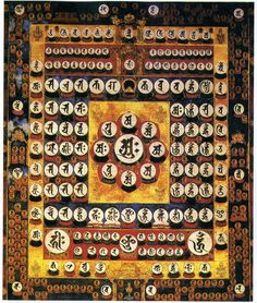 Japanese Shuji Mandara, via www.ysbla.org.tw Japan's esoteric sects employ a mandala called the Shuji Mandara, or Seed-Syllable Mandala in which the deities are symbolized by their individual seed syllables. The seed syllable (Japanese, Shuji 種字; Sanskrit, Bijaksara) invokes the essence of the deity. In Japan, Sanskrit seed syllables are written in a script called Shittan 悉曇 (Siddham in Sanskrit) which is derived from the Indian Brahmi script.