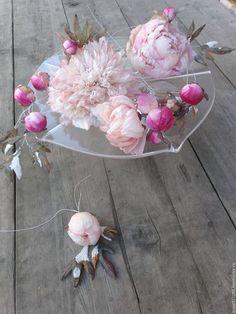 """Цветы ручной работы. Ярмарка Мастеров - ручная работа. Купить Пионы из шелка """"Дворцовый шелк"""" композиция. Handmade. Розовый, шпилька"""