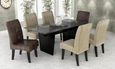 Conjunto para Sala de Jantar com mesa e 6 cadeiras Melissa Preto/Super Sued/Tork Enrrugado - Cimol