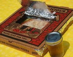 "cook a tortilla-pizza in a foil-lined pizza box ""solar oven."" Solar-Powered Lunch! 