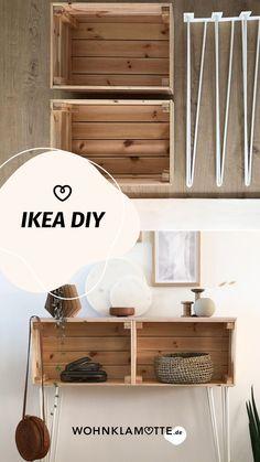 Einen DIY mit Holzkisten.. das war ehrlich gesagt erstmal eine kleine Herausforderung, denn was hat die Welt noch nicht aus Wein- oder Holzkisten gebaut?! Ähnlich wie bei Paletten – da gibt es nicht mehr allzu viel, was man noch nicht gesehen hat. Deswegen habe ich wirklich lange überlegt. Irgendwann ist mir dann spontan das Regal mit den Hairpin-Legs eingefallen. Decor, Ikea Diy, Shelves, Home Remodeling, House, Home Decor
