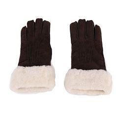 URSFUR Unisex Warme Echte Sheepskin Leder Handschuhe Fingerhandschuhe Winter Handschuhe Fleece Handschuhe mit Fell Futter -braun