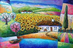 Картина «Дом в цветах солнца», Художник Лаптева Виктория
