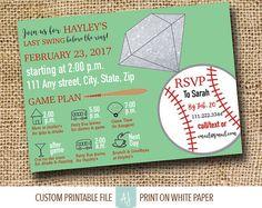 Bachelorette Party Invitation-Last Swing Before the Ring- Baseball themed Bachelorette Invite-Custom Invitation