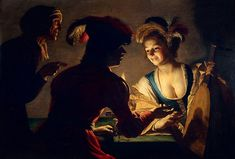 Gerrit van Honthorst - De koppelaarster / The Matchmaker, showing the use of Carravagesque 'chiaroscuro, 1625