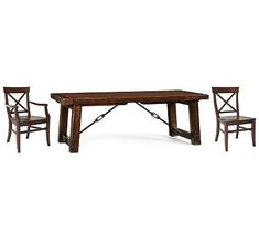 Benchwright XL Table & Aaron Chair Set Rustic Mahogany stain