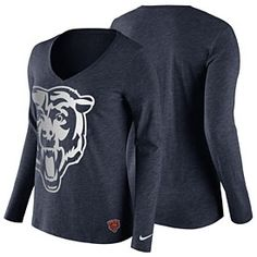 Get this Chicago Bears Ladies Logo Wrap Tri-Blend V-Neck Long Sleeve T-Shirt at ChicagoTeamStore.com