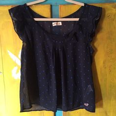 Blue Polka Dot Hollister Top Blue polka dot top from Hollister - bow detail on collar Hollister Tops Blouses
