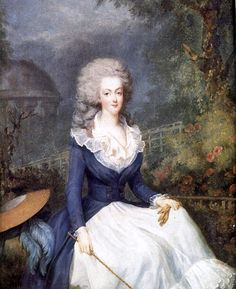Ma. Antoinette pregnant with her 1st child,  Marie-Thérèse Charlotte, 12/19/1778, called Madame Royale. The painting was done early in the pregnancy. During this period 2 events occurred which had a profound impact on her later life.1st, the handsome Swede, Count Axel von Fersen, who was rumored to have once been her lover, returned to Paris. 2nd, the King's wealthy, spiteful cousin, the duc de Chartres, was disgraced due to his conduct during the Battle of Ouessant against the British.