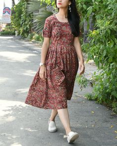 Maroon kalamkari dress is part of Kalamkari dresses - Kalamkari Dresses, Ikkat Dresses, Kalamkari Kurti, Kalamkari Blouse Designs, Frock Design, Frock Dress, The Dress, Frock Fashion, Fashion Dresses