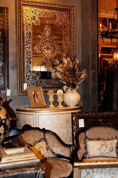 Stenciled and Gilded Antique Mirror by Gracie Reed. Gorgeous!