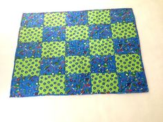 Baby Quilt Blue and Green Quilt Hand Made Quilt Crib Blanket Comical Bug Quilt Boy Quilt (59.99 USD) by 2Fun4Words