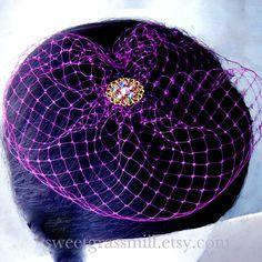 Birdcage Veil - PLUM BRIOCHE - Plum Purple Veil Netting Hat