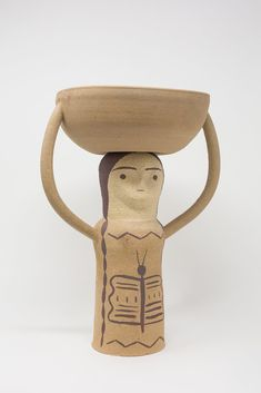 Heidi Anderson Large Offering Lady in Tan Sculptures, Objects, Reusable Tote Bags, Pottery, Clay, Ceramics, Handmade, Store, Ceramica