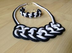 Cotton cord necklace and bracelet. Knot necklace and by Kreseme