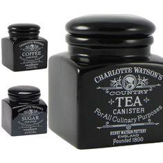 Charlotte Watson Vintage Retro Black Tea Coffee Sugar or Utensil Storage Jar