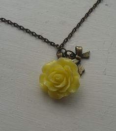 Lucite rose necklace with bow by RosieMays on Etsy