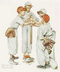 """Who's Up First""- Norman Rockwell"