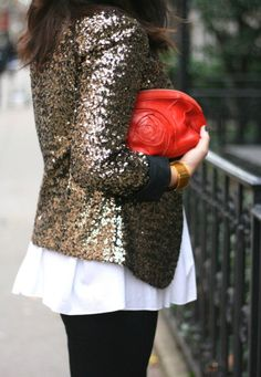 Sequin jacket: layer with a great skinny trouser and oversized blouse for a relaxed but chic NYE.