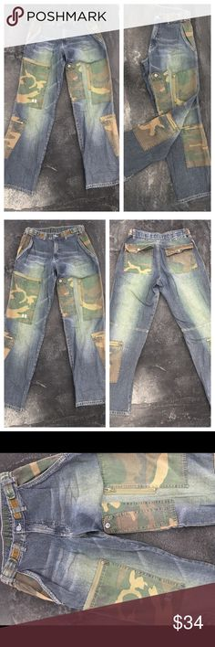 "VINTAGE 90s Baggy Jeans with Camouflage patching Dr. Denim super cool patched jeans.  Length: 43"", Waist: starts @ 30"" (adjustable), Rise: 12"" , 100% Algodon Dr. Denim Jeans"
