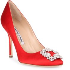 Hangisi 105 Red Satin Pump ($985) ❤ liked on Polyvore featuring shoes, pumps, red, red high heel pumps, red evening shoes, pointy-toe pumps, satin pumps and red shoes